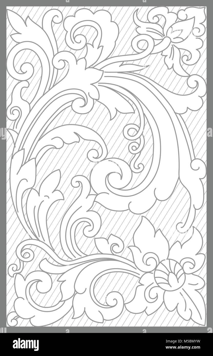 surakarta floral decoration motif - Stock Vector