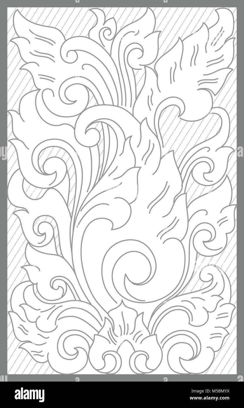 mataram floral decoration motif - Stock Vector
