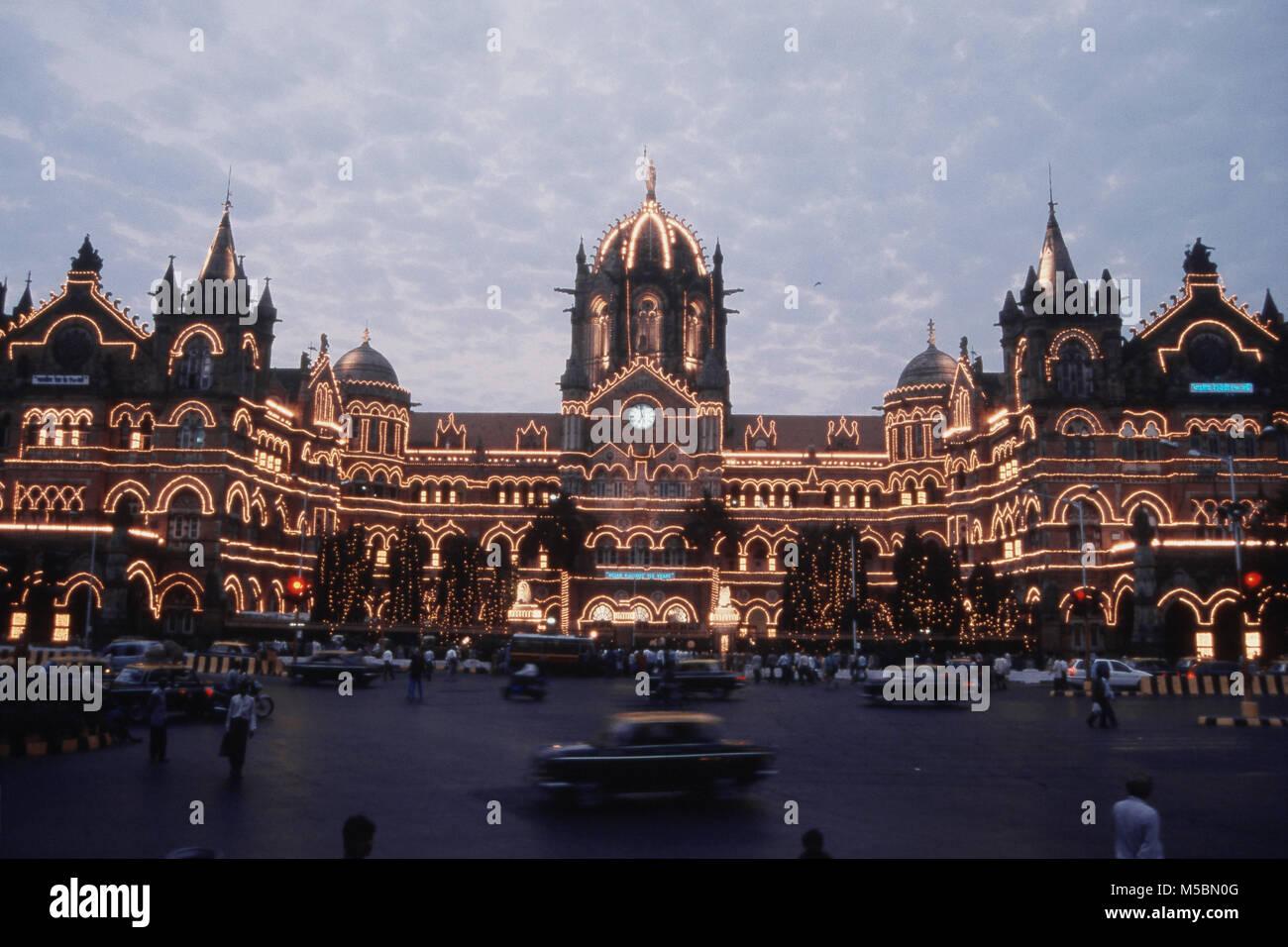 VT Station on 150 years of Completion, Mumbai, Maharashtra, India - Stock Image