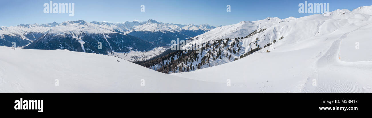 Ski area Strela Alp, Jacobshorn on the other side of the valley Stock Photo