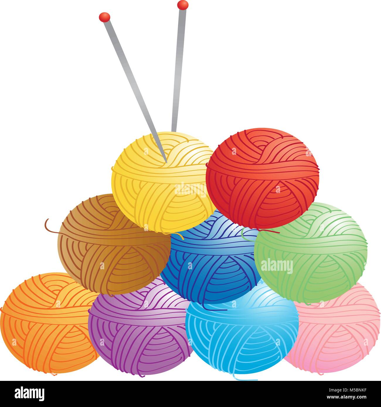 Cartoon illustration of several balls of wool and knitting needles - Stock Vector