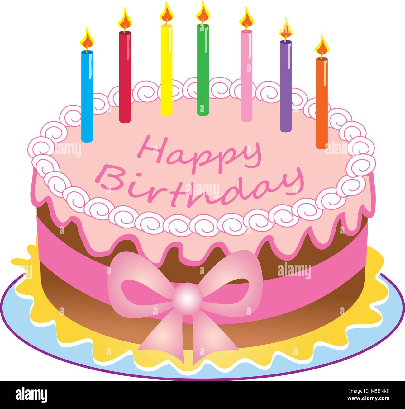 A Cartoon Happy Birthday Cake With Colored Candlessugar Icingribbon And Bow