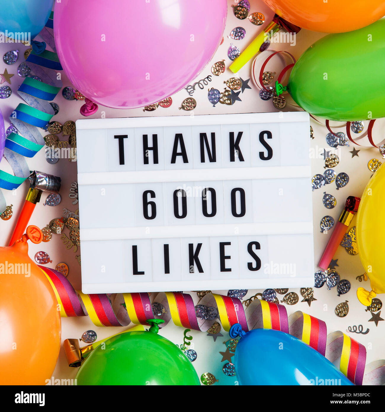 Thanks 6 thousand likes social media lightbox background. Celebration of followers, subscribers, likes. - Stock Image
