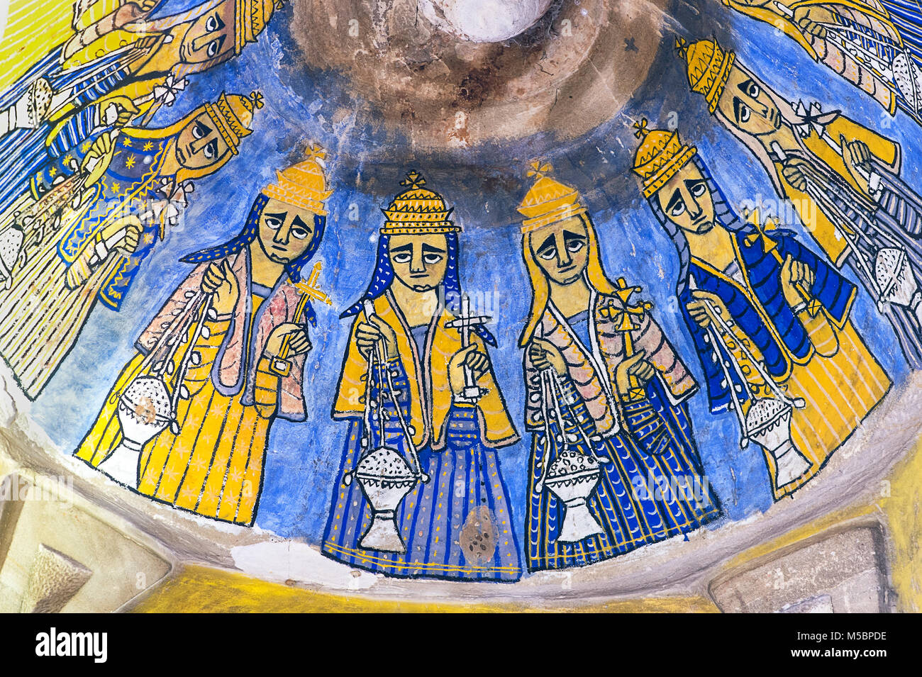 Most probably depictions of the Elders of the Apocalypse, fresco in the rock-hewn church Abuna Gebre Mikael at Koraro, - Stock Image