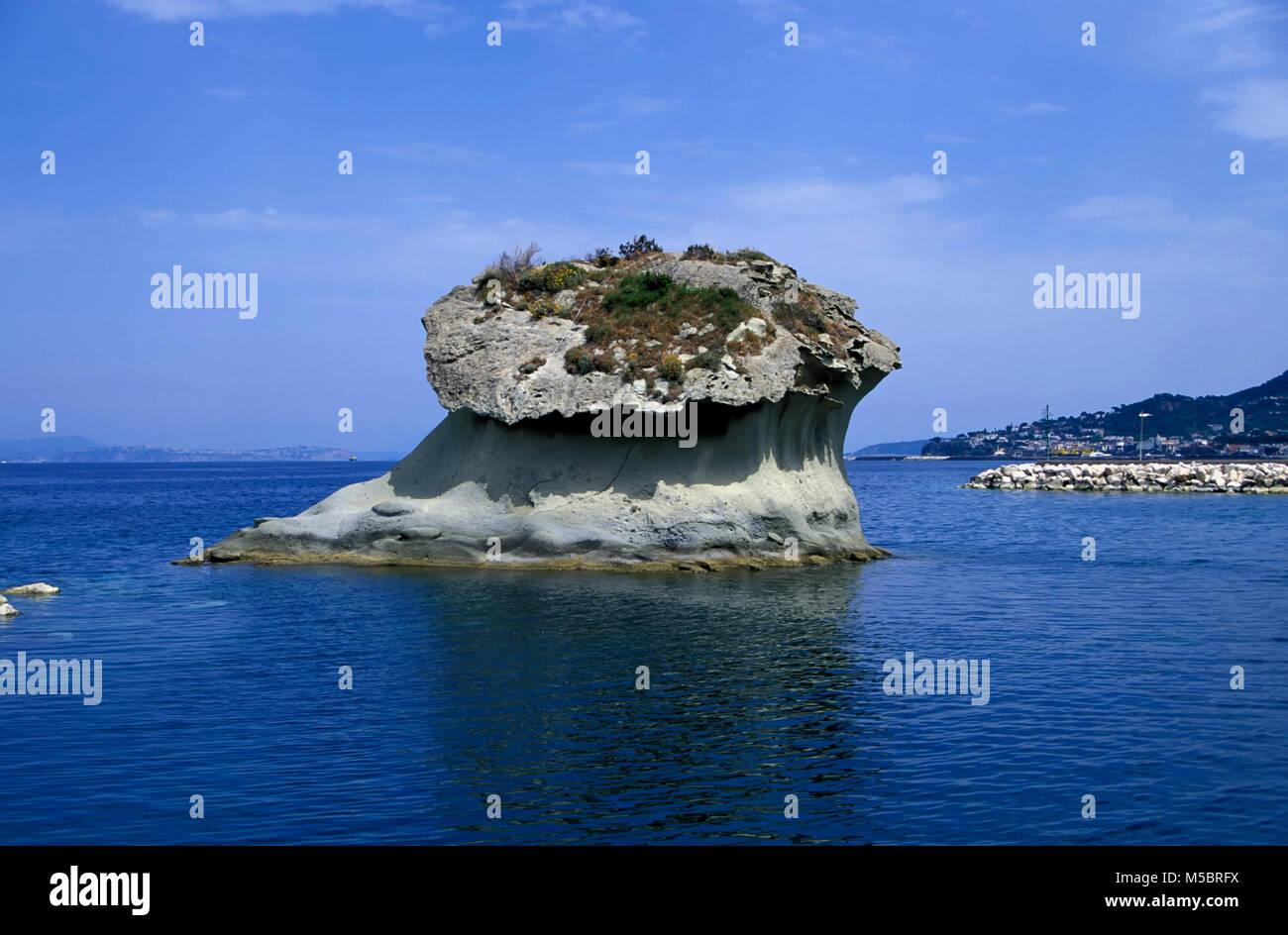 Lacco Ameno, Tuffsteinblock Il Fungo,  Ischia island, Italy, Europe - Stock Image