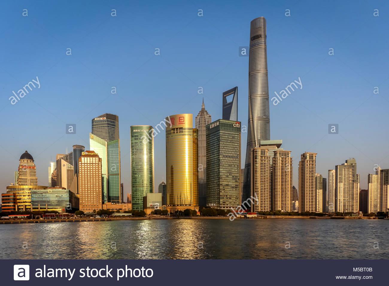 Die Skyline von Shanghai im Stadtteil Pudong mit Shanghai Tower, Shanghai World Financial Center, Jin-Mao Tower, - Stock Image
