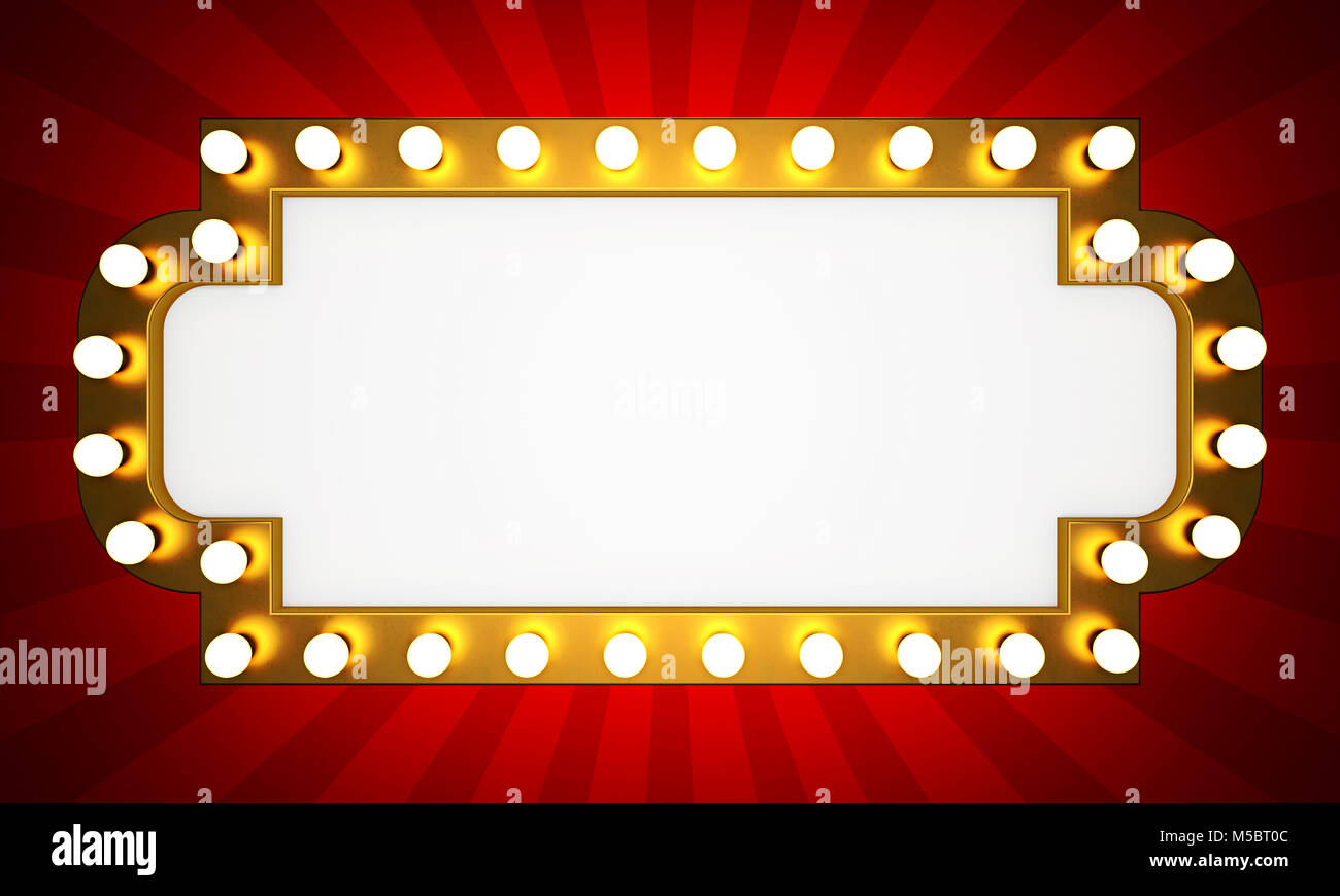 Golden retro cinema banner with rays. 3D rendering Stock Photo