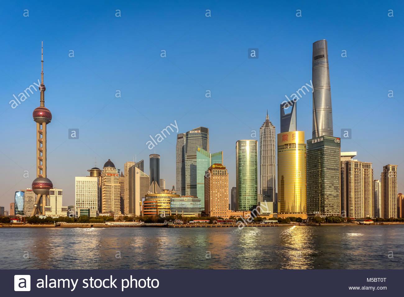 Die berühmte Skyline von Shanghai im Stadtteil Pudong u.a. mit dem Oriental Pearl Tower, Shanghai Tower, Shanghai - Stock Image