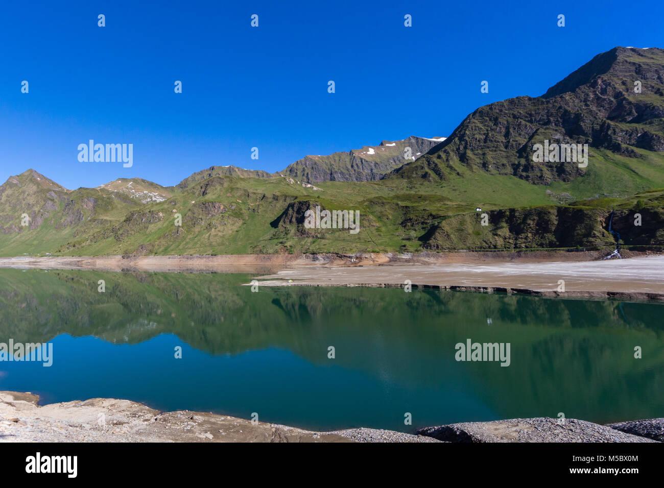 lake Ritom in canton ticino Piora valley with natural mountains Stock Photo