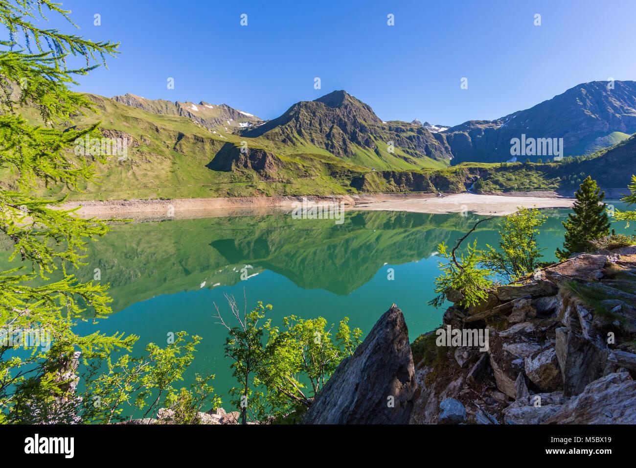 natural lake Ritom in canton ticino Piora valley Stock Photo