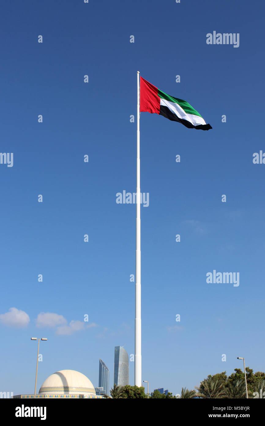 UAE Flagpole Corniche Road Abu Dhabi UAE - Stock Image