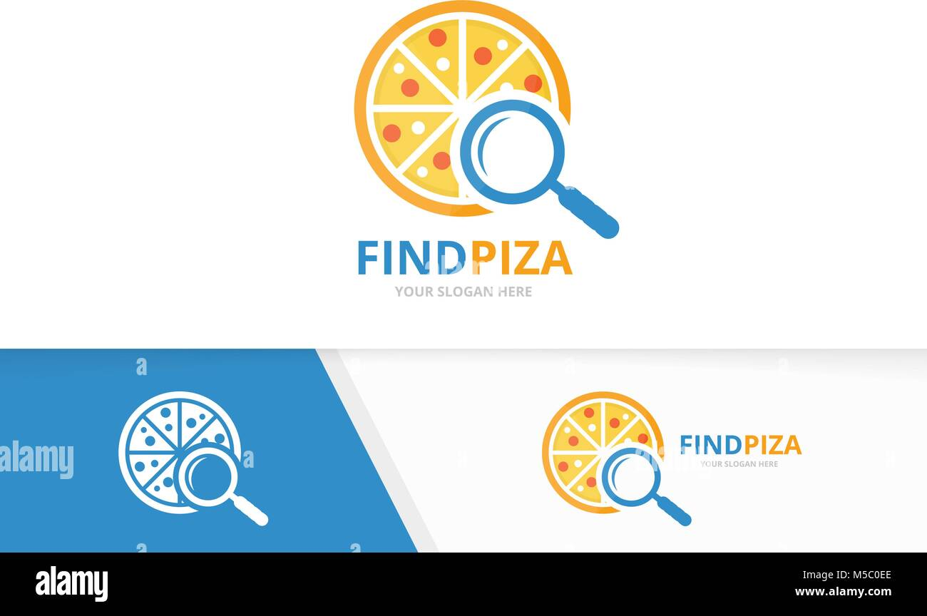 Vector pizza and loupe logo combination. Food and magnifying symbol ...