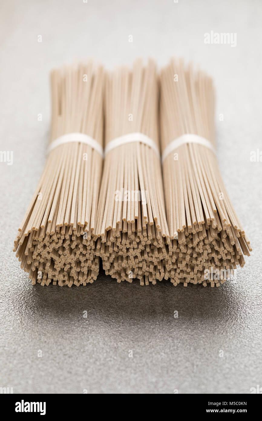 Japanese raw soba noodles bundles - Stock Image