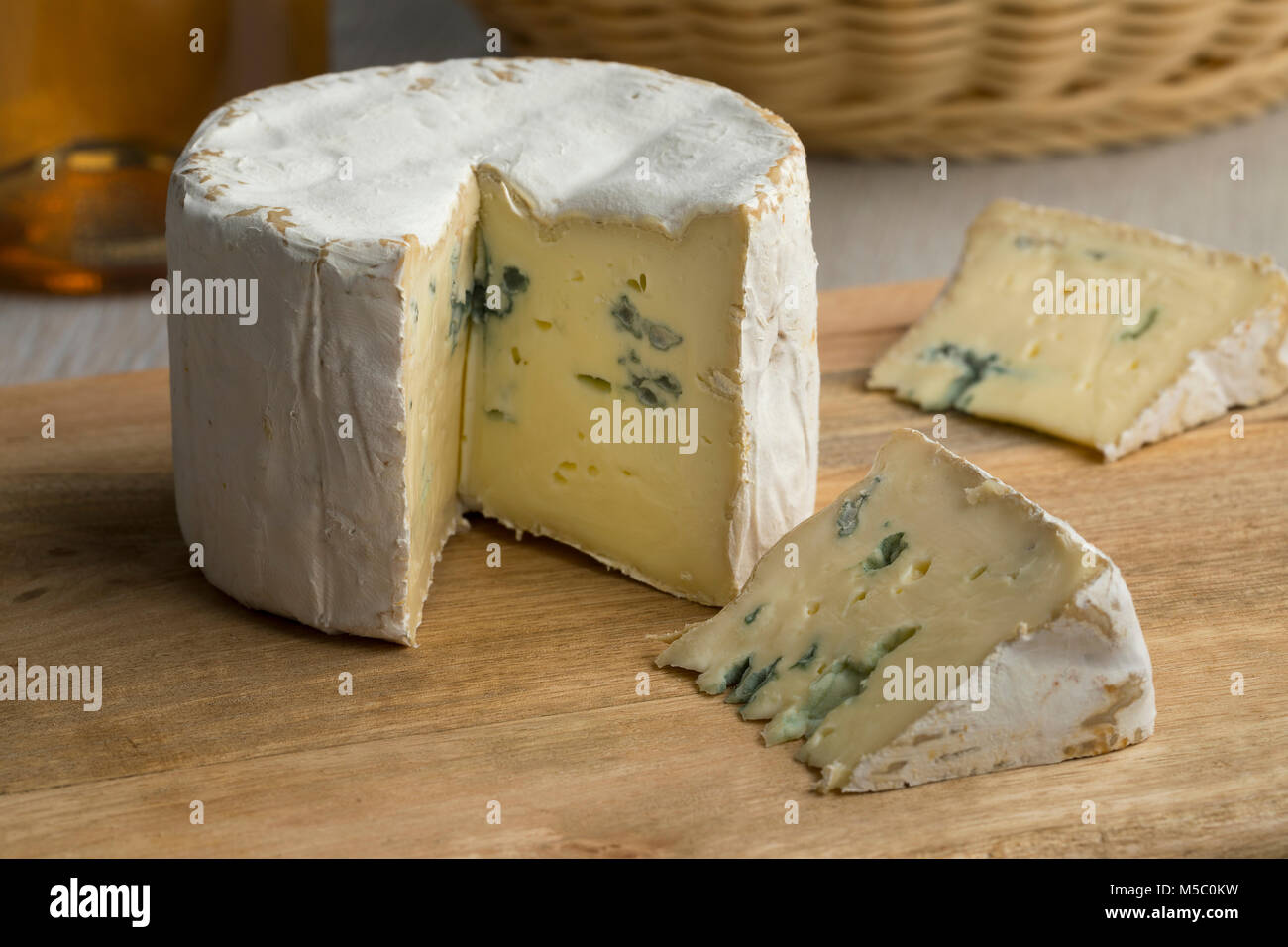 Piece of French Blue cheese for dessert - Stock Image