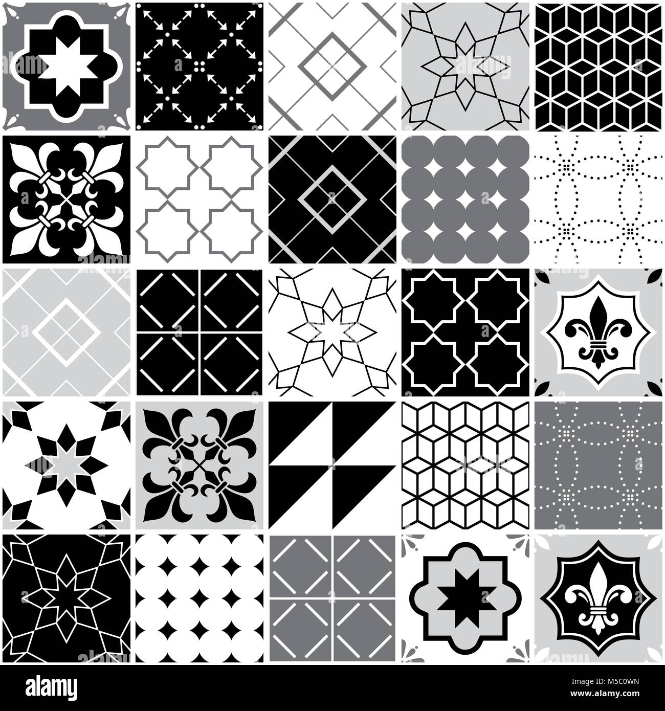 Portuguese tiles Azulejos, seamless vector tile pattern, geometric and floral design - black, white and grey patchwork - Stock Vector