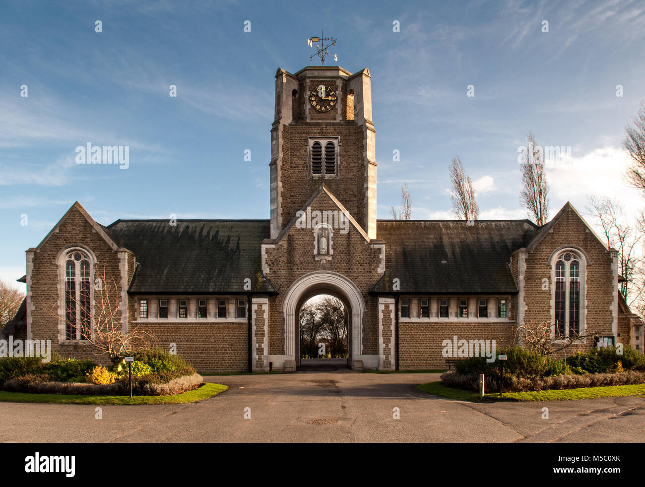 London, England, UK - January 27, 2013: The gothic mortuary chapel of Camberwell New Cemetery stands in Honor Oak - Stock Image