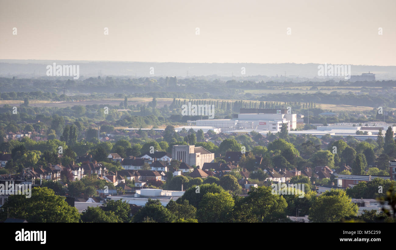 London, England - August 6, 2016: The cityscape of West London, including Ruislip and parts of the boroughs of Harrow - Stock Image