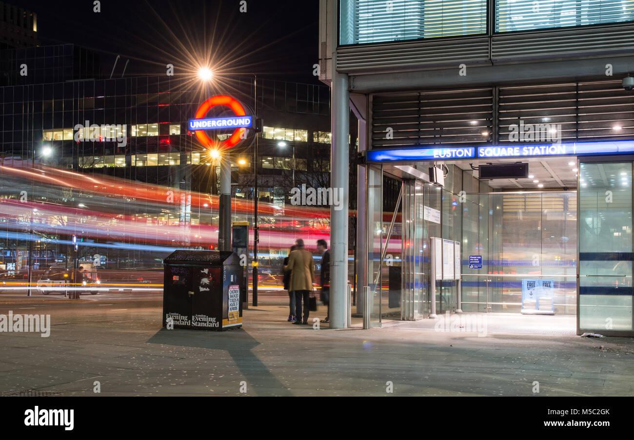 London, England, UK - January 16, 2018: Traffic rushes past Euston Square London Underground Station on Gower Street - Stock Image