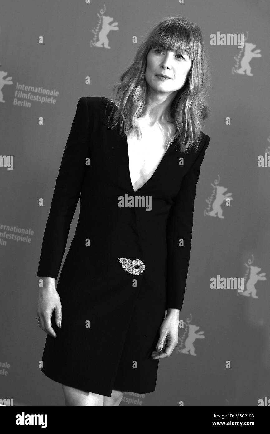 Rosamund Pike attends the 68th Berlinale International Film Festival Berlin photocall of 7 Days in Entebbe at The - Stock Image