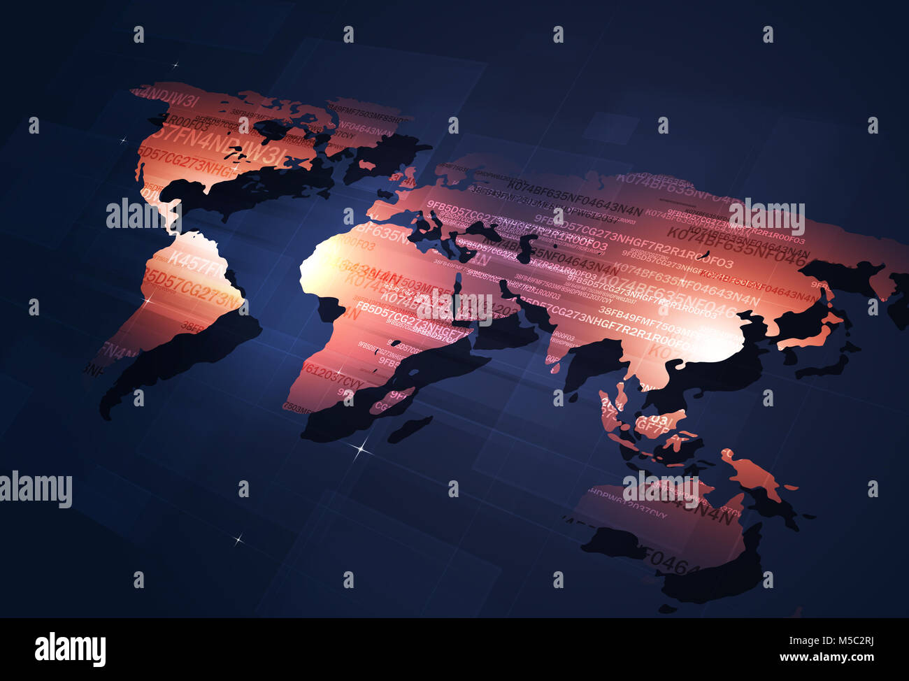 digital coding world map concept internet security background - Stock Image