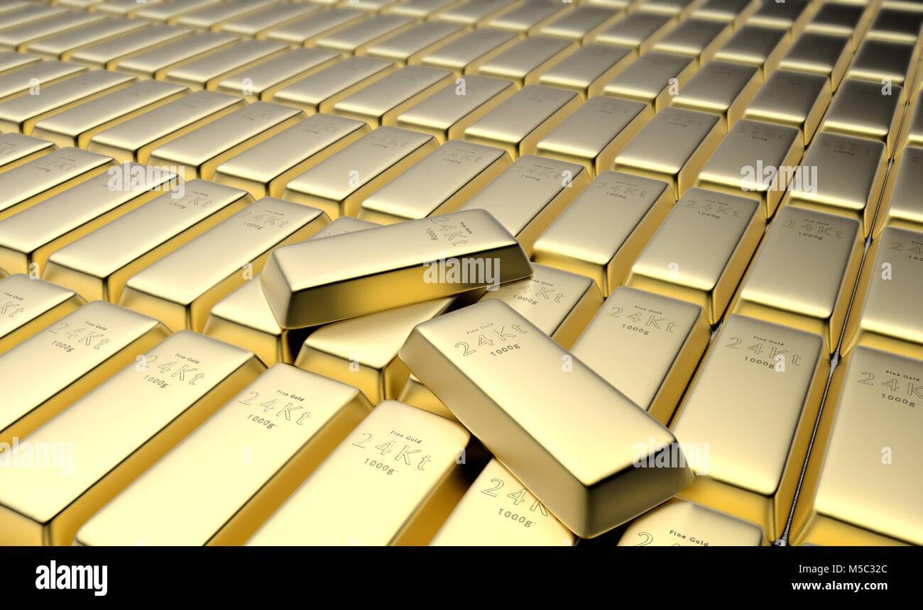 3D rendering of 24 karat gold bars in a vault - Stock Image