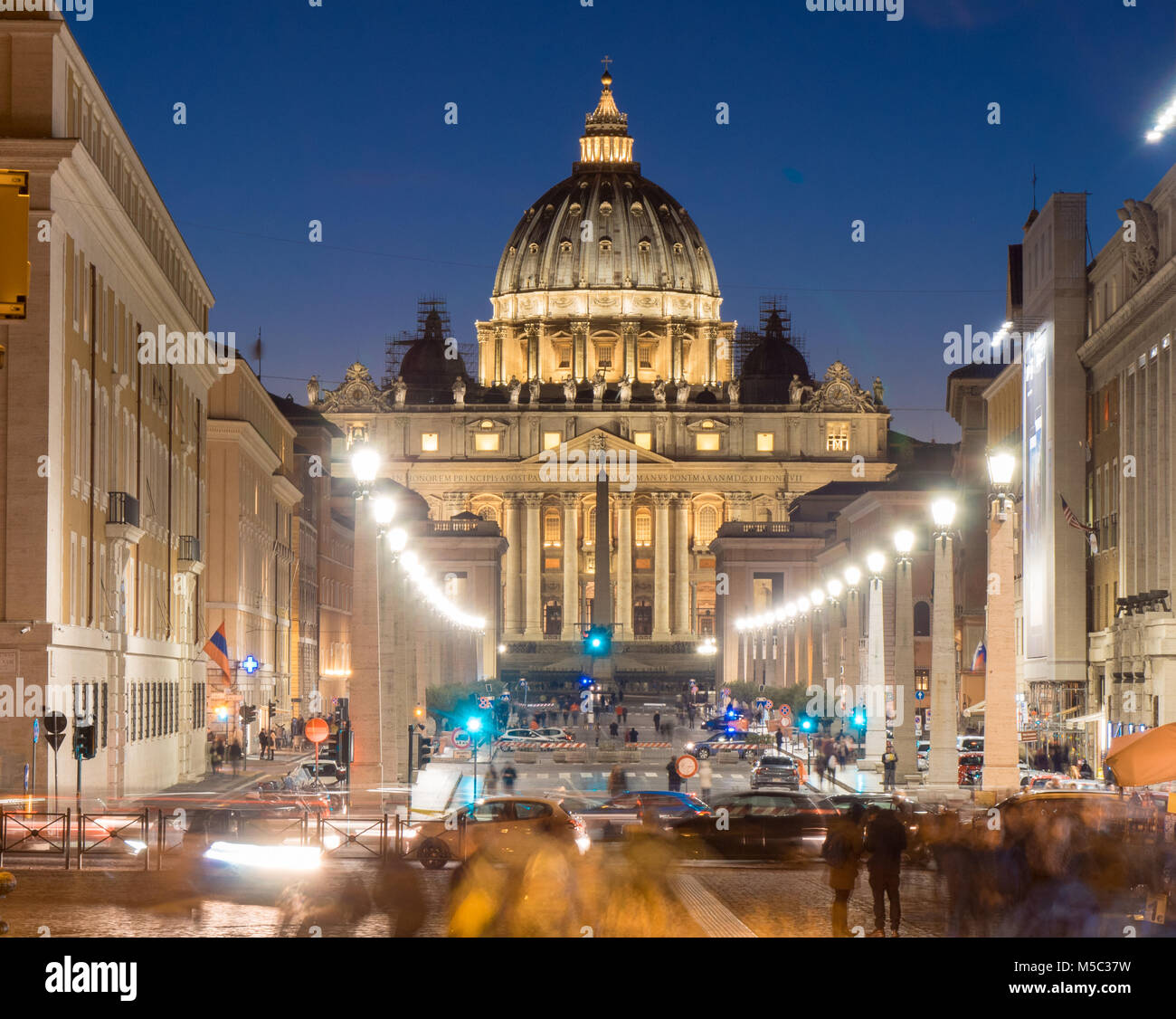 Rome by Night. Vatican Saint Peter Cathedral and city streets - Stock Image