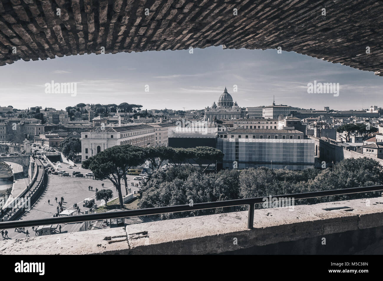 Rome skyline view  from the Castel Sant`Angelo, Italy, black and white version - Stock Image