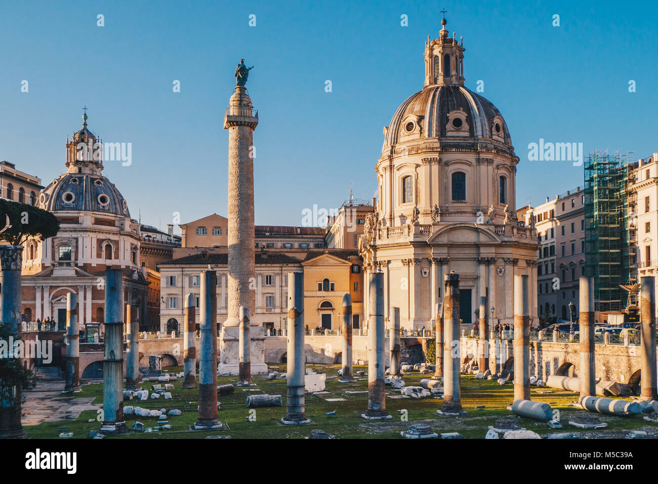 Trajan's Forum at sunrise in Rome, Italy near the Roman Forum Stock Photo