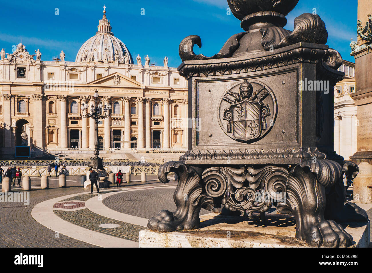 St. Peter's square and Saint Peter's Basilica in the Vatican City in Rome, Italy Stock Photo