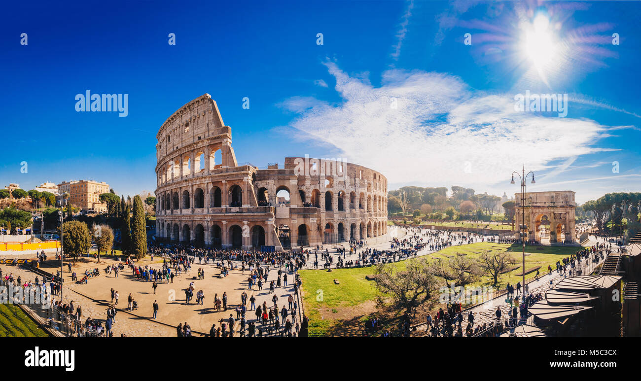 The Roman Colosseum (Coloseum) in Rome, Italy wide panoramic view - Stock Image