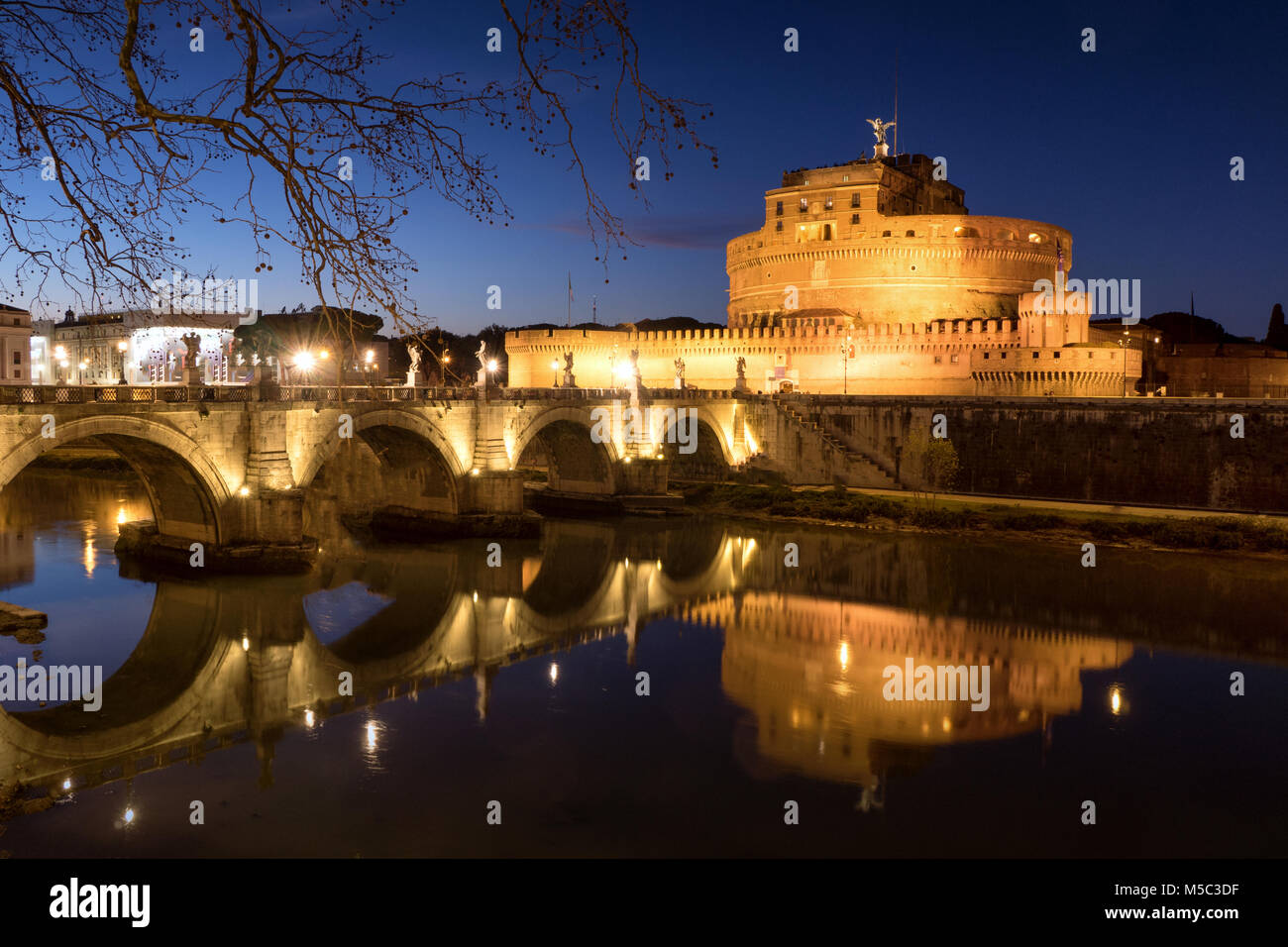 Rome Sant' Angelo Castle by night - Stock Image