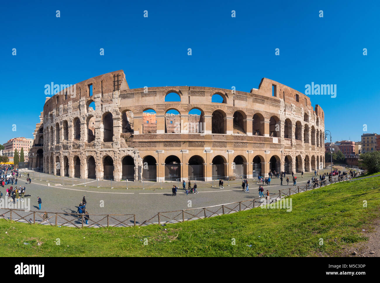 The Roman Colosseum (Coloseum) in Rome, Italy wide panorama Stock Photo