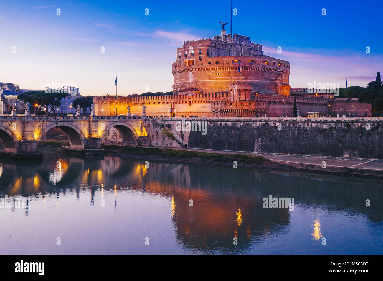 Night view of Sant' Angelo Castle in Rome, Italy - Stock Image