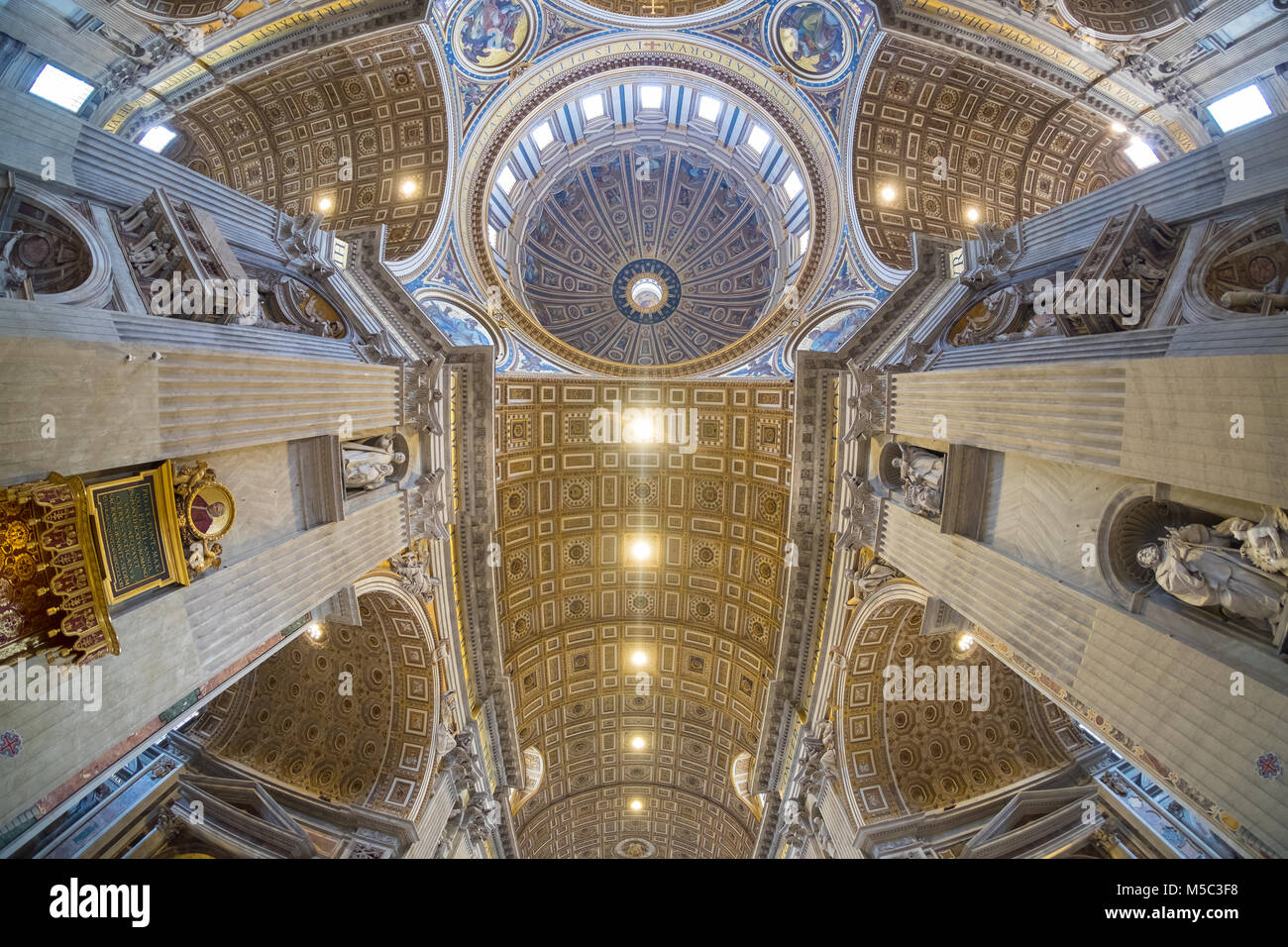 St. Peter's Basilica dome interior in Rome, Italy - Stock Image