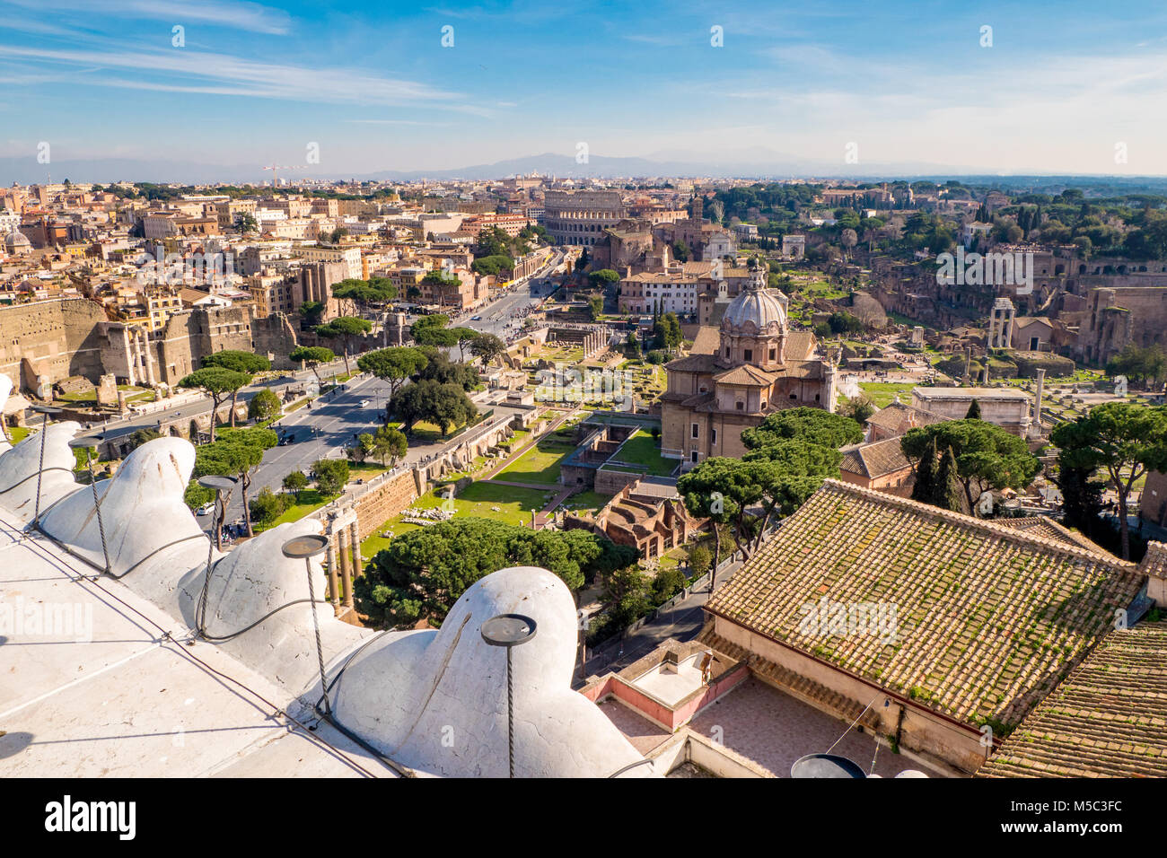 Rome skyline from above panorama - Stock Image