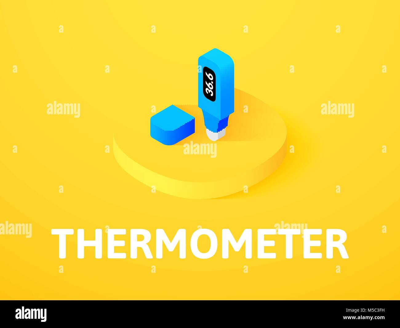 Thermometer isometric icon, isolated on color background - Stock Image