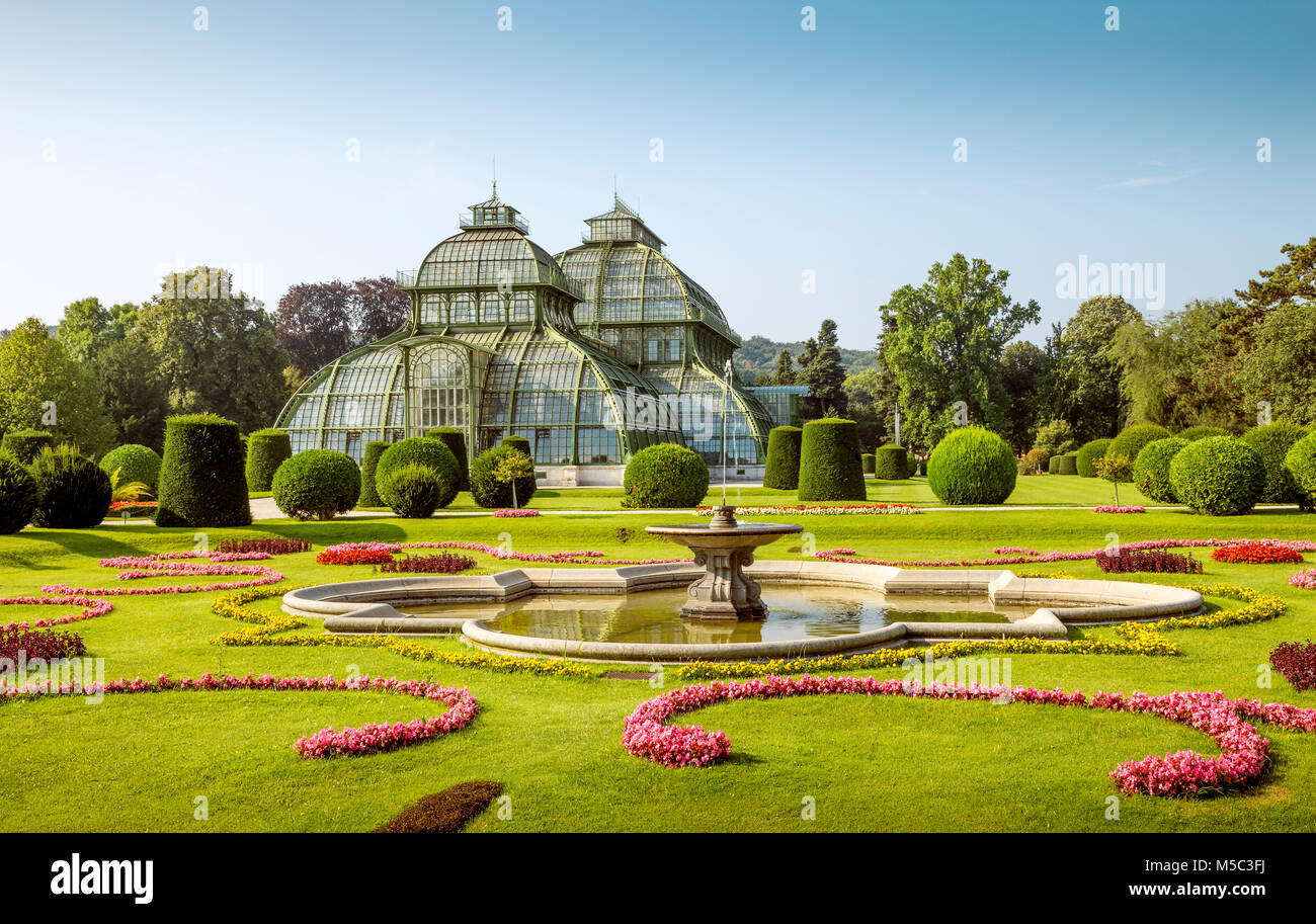 Schonbrunn Palace Palm Pavilion (old green house) on the grounds of the palace, Vienna, Austria - Stock Image