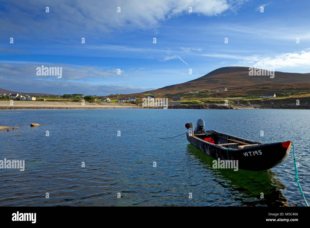 Curragh Moored at Dooega Village on the Atlantic Drive, Achill Island, County Mayo, Ireland - Stock Image