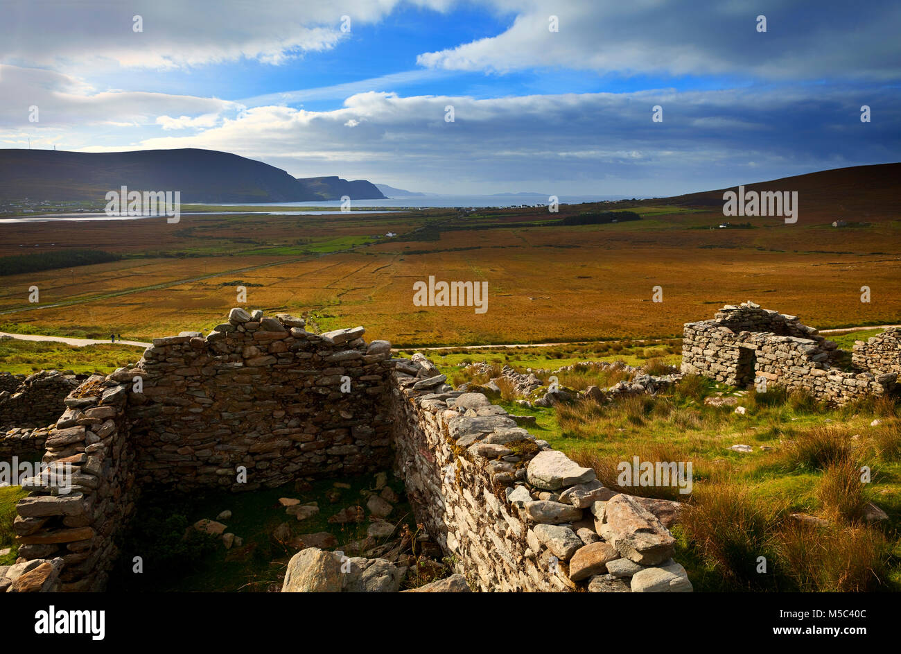 The Missionary Settlement - or the Deserted Village on the side of  Slievemore mountain, Achill Island, County Mayo, - Stock Image