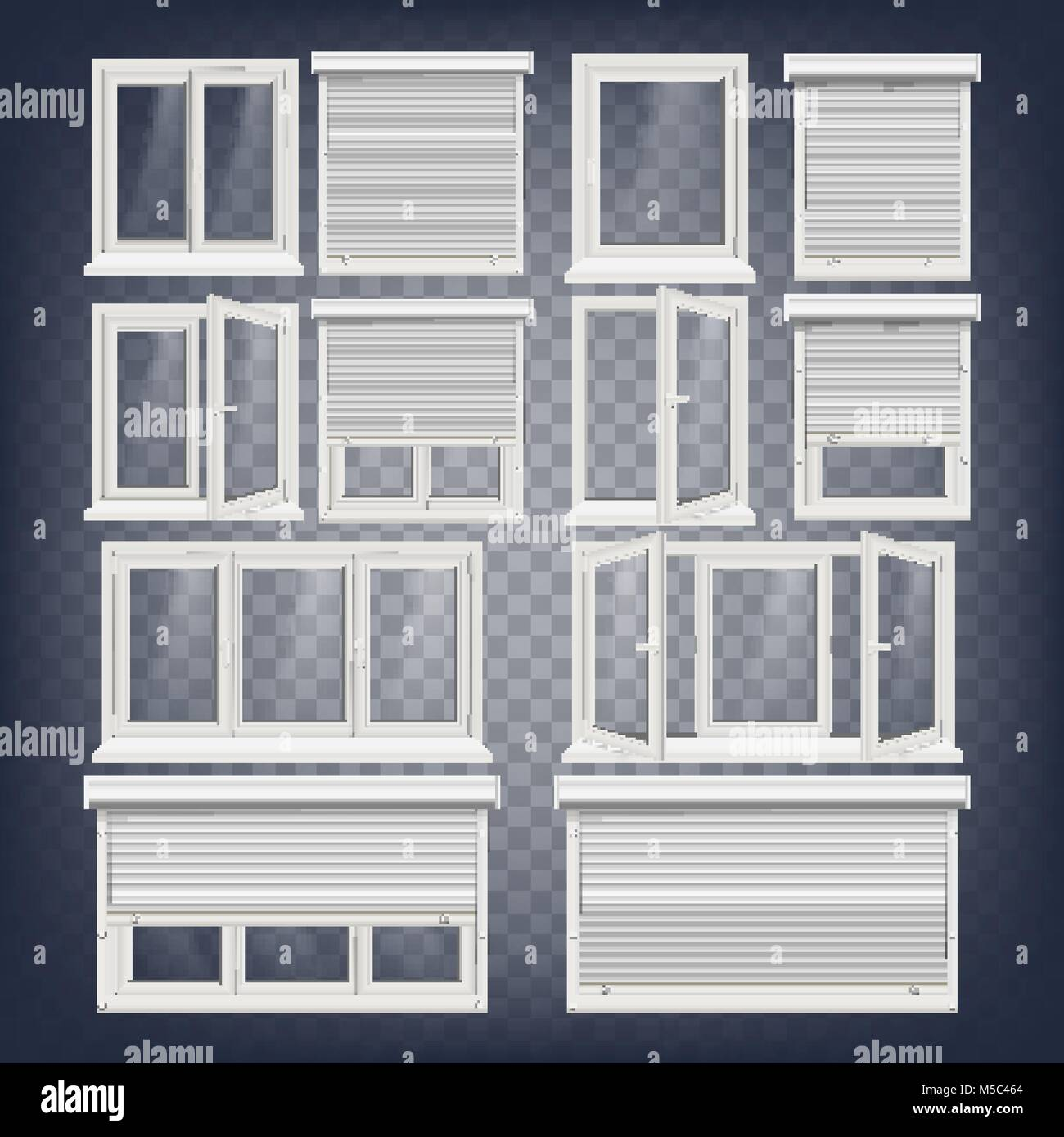 Plastic PVC Windows Set Vector. Different Types. Roller Blind ...