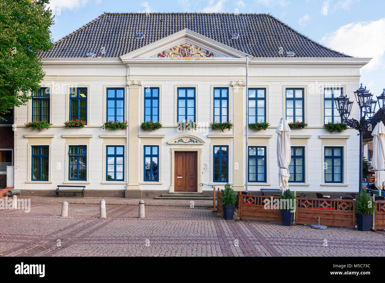 Frontal View Of The Town Hall In Esens In Classicist Style With