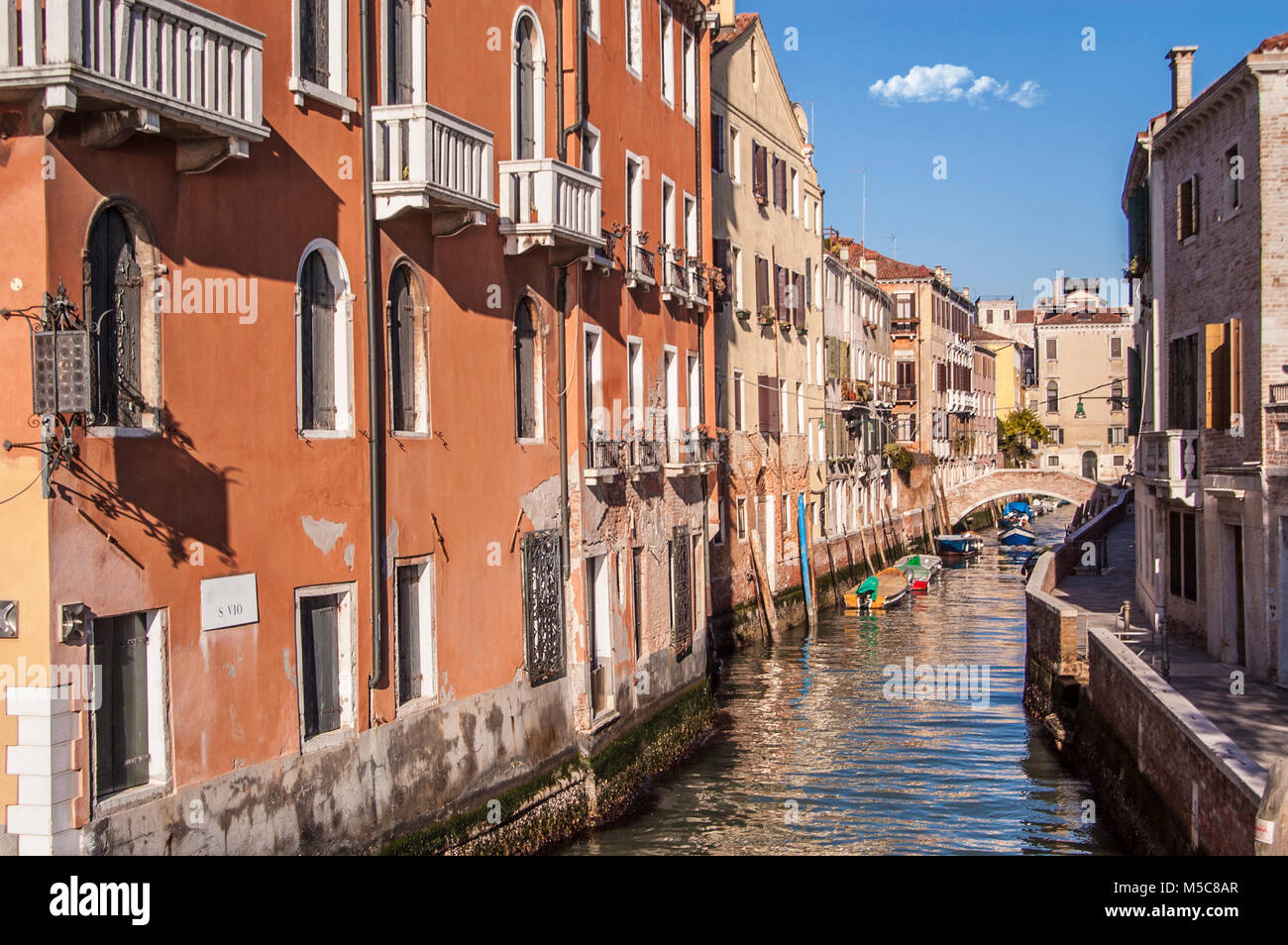 Venice,Canal in Fondamenta Zattere allo Spirito Santo - Stock Image
