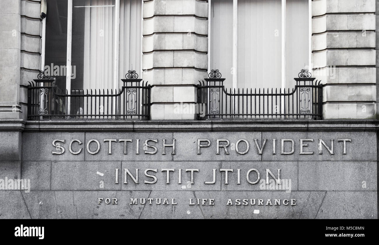Scottish Provident Institution sign above a Newcastle upon Tyne building. - Stock Image