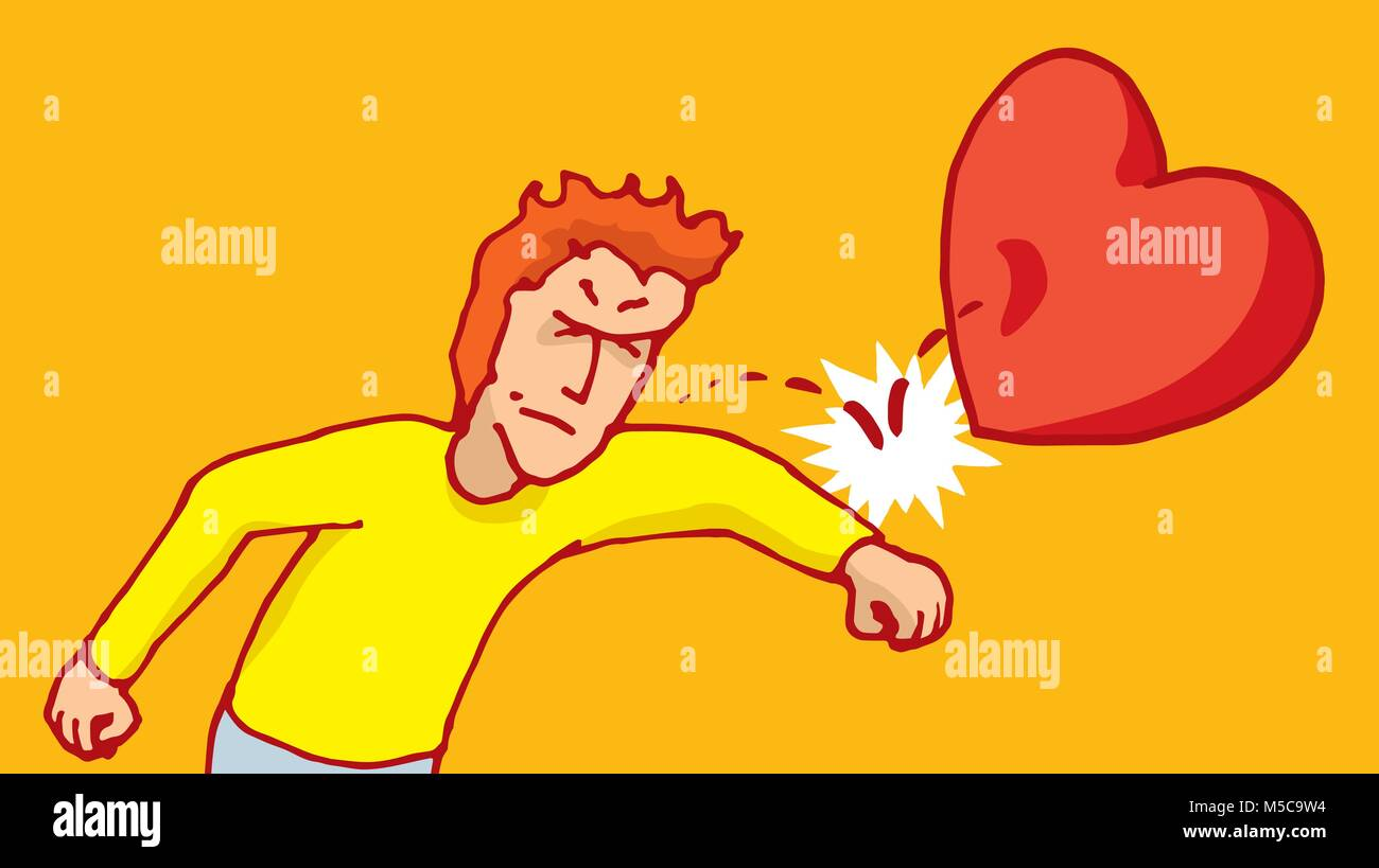 Cartoon illustration of angry man punching love away - Stock Vector