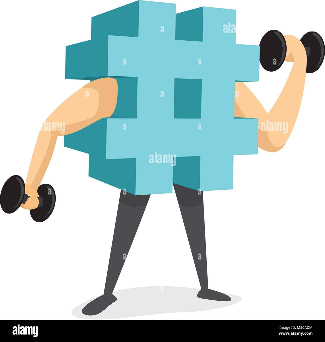 Cartoon illustration of hashtag trending or working out - Stock Vector