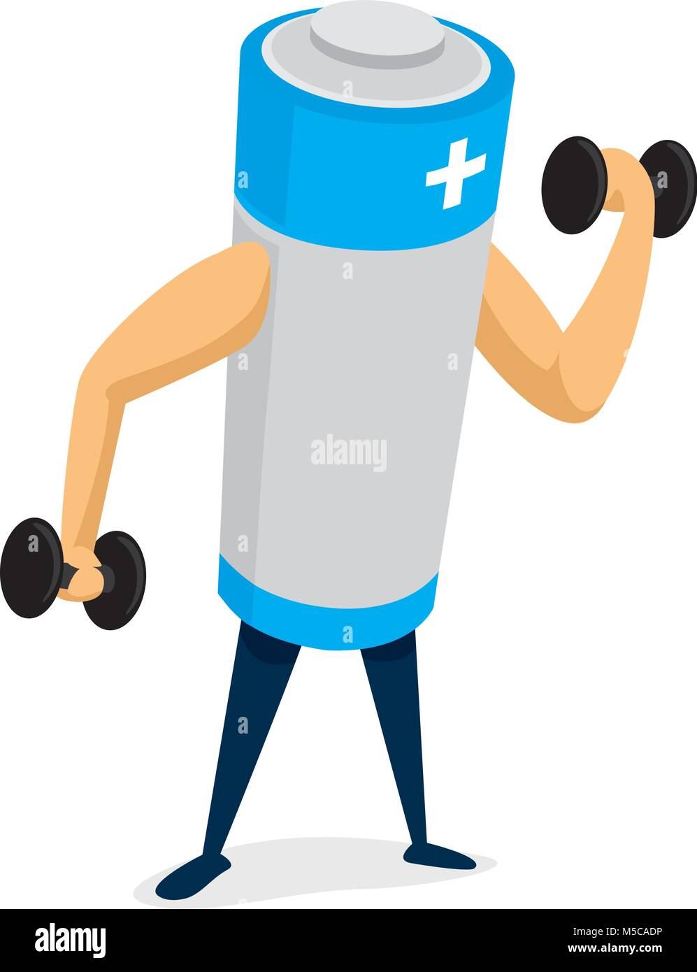 Cartoon illustration of strong battery working out - Stock Vector