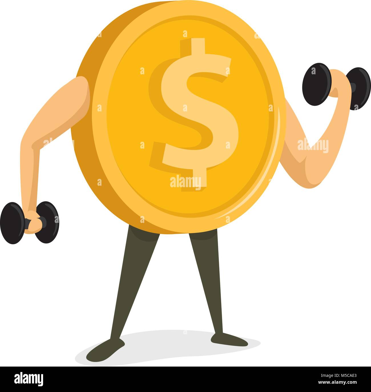 Cartoon illustration of coin working out or strong currency - Stock Vector