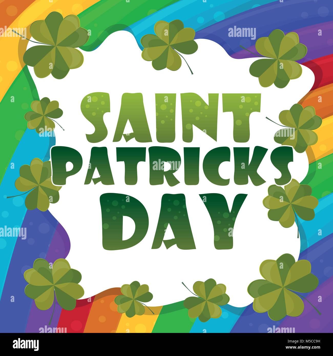 99413d871 Saint Patricks Day Invitation Card Design on rainbow Background. Vector  Illustration. - Stock Image