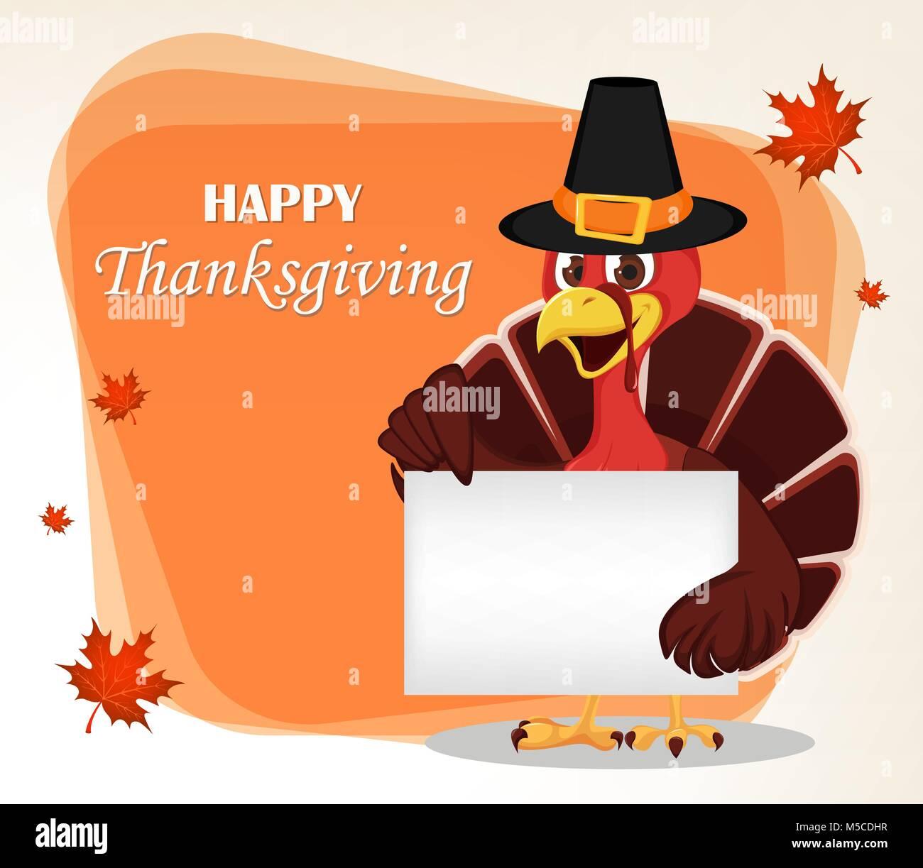 Thanksgiving Greeting Card With A Turkey Bird Wearing A Pilgrim Hat