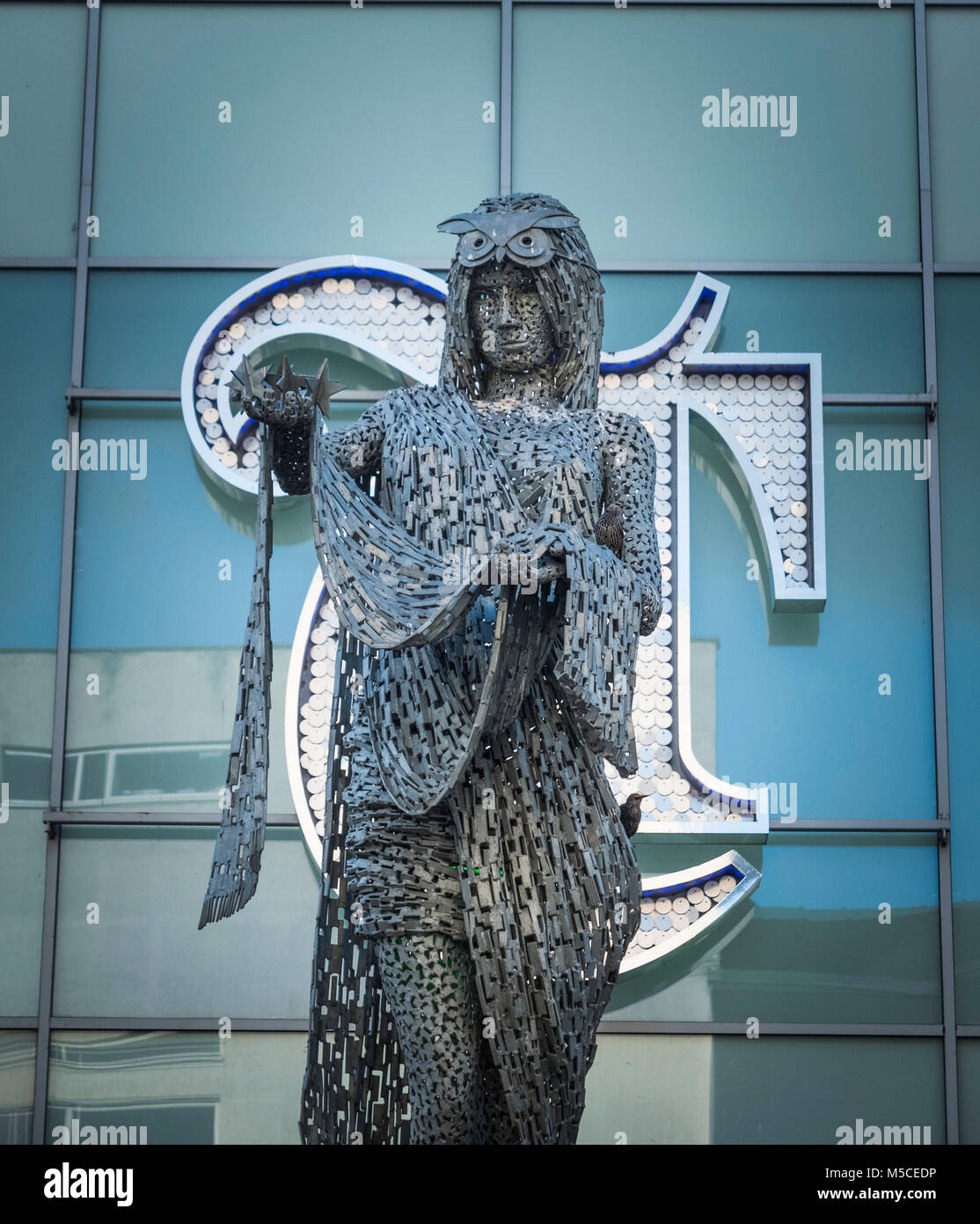 The Briggate Minerva a sculpture by Andy Scott also known as the Draped Woman at Briggate, Leeds. - Stock Image